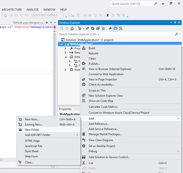 Visual Studio 2012, Add New Folder