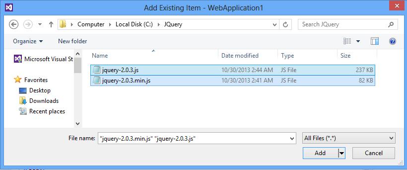 Visual Studio 2012, add JQuery Include Files