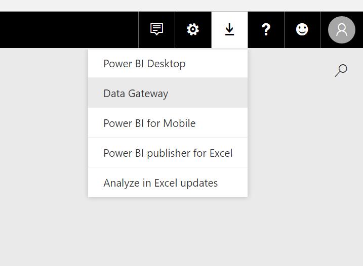 Menu option for downloading the Power BI Data Gateway