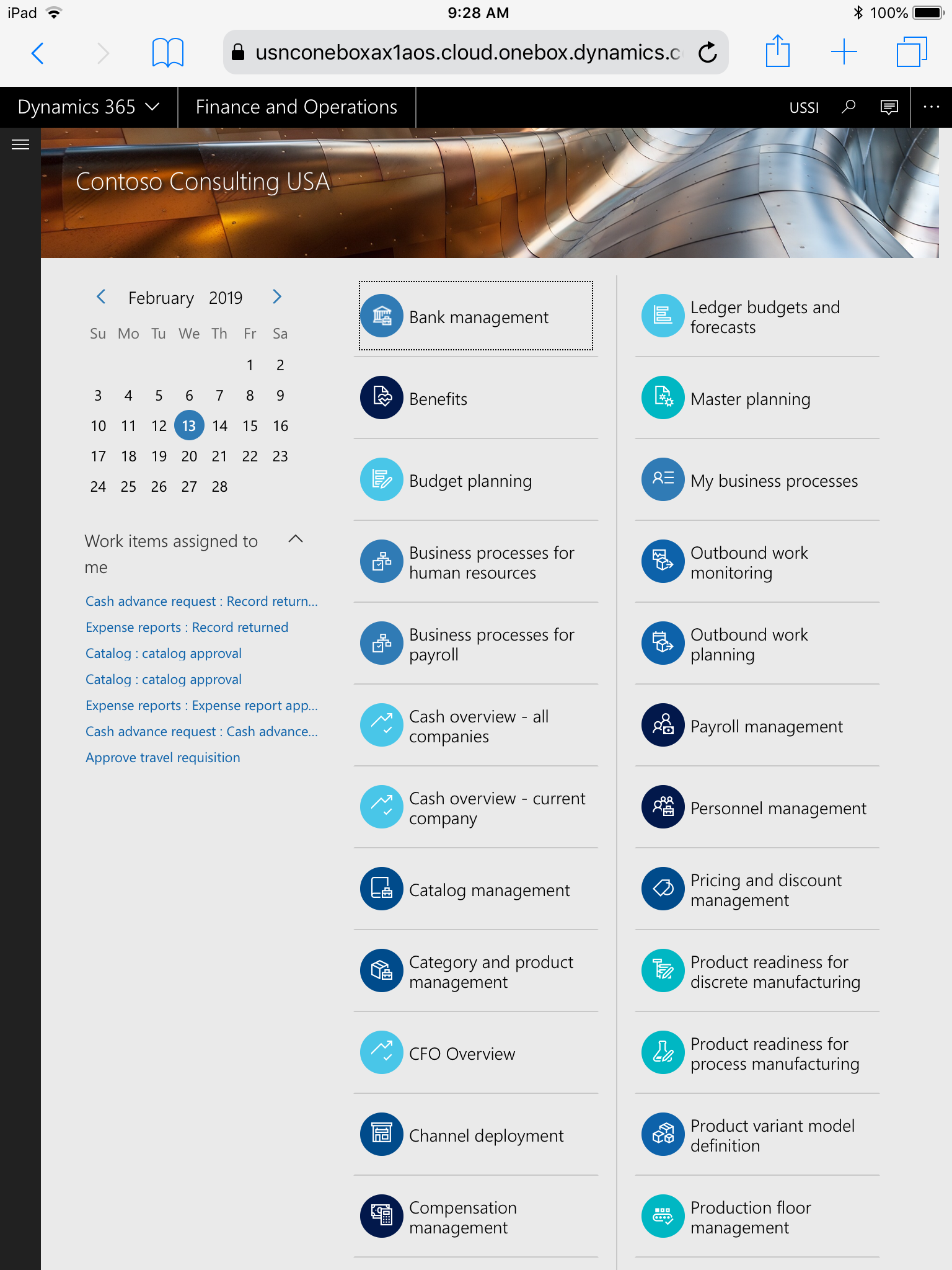 Dynamics 365 for Finance and Operations running on an iPad